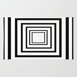 Concentric Squares Black and White Rug