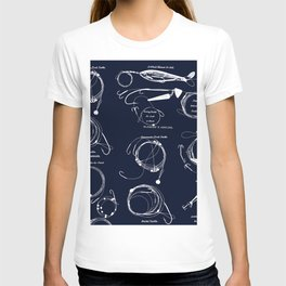 Maritime pattern- white fishing gear on darkblue background T-shirt