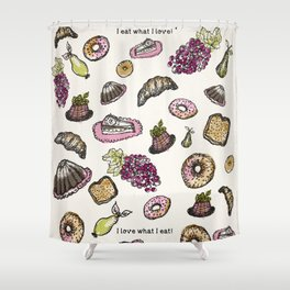 cakes donuts and fruits Shower Curtain