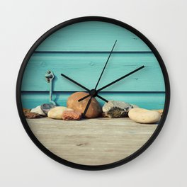 Beach Hut Stones Wall Clock