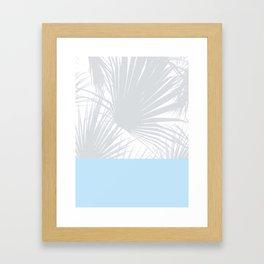 Tropical Pastel Grey Palm Leaves on Soft Blue Framed Art Print