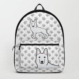 White Shepherd / White German Shepherd Dog Cartoon Illustration Backpack