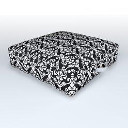 Cresta Damask Pattern White on Black Outdoor Floor Cushion