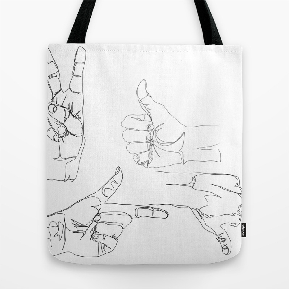 Hands On Hands Off Tote Bag by Melcoleman TBG8613995