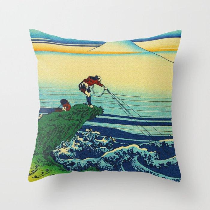 Vintage Japanese Art - Man Fishing Throw Pillow