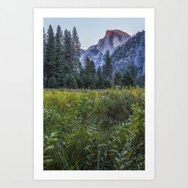 Light setting on Half Dome v Art Print