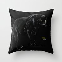 panther Throw Pillows featuring Panther by Kennie Gathuru