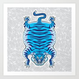TIBETAN TIGER - BLUE (white) Art Print
