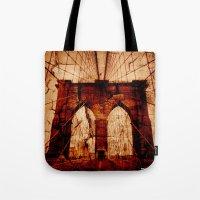 brooklyn bridge Tote Bags featuring Brooklyn Bridge by Del Vecchio Art by Aureo Del Vecchio