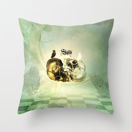 Awesome skulls with crows Throw Pillow