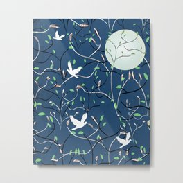Art Nouveau Moon with Doves (Blue and Silver) Metal Print
