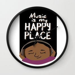 Music is my happy place - Dark Wall Clock