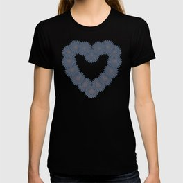 Heart and flowers. Denim photocollage T-shirt