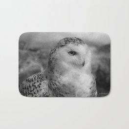 Snowy Owl - B & W Bath Mat