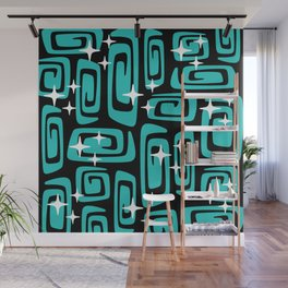 Mid Century Modern Cosmic Galaxies 435 Black and Turquoise Wall Mural
