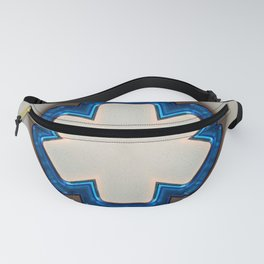 Blue Plastic Texture Six Sided Flat Point Star Fanny Pack