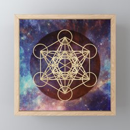 Metatron Mandala Moon Gold Bronze Copper Framed Mini Art Print