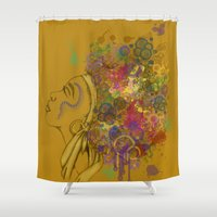 afro Shower Curtains featuring Afro by KiraTheArtist