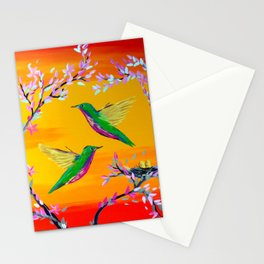Yeloowlow and Orange with Hummingbirds Stationery Cards
