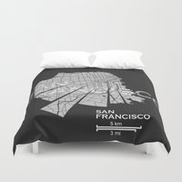 san francisco map Duvet Covers featuring San Francisco Map by Shirt Urbanization