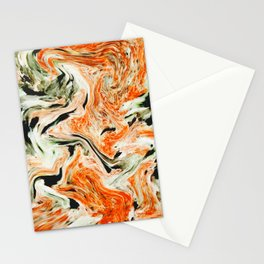 Modern orange and green marble Stationery Cards