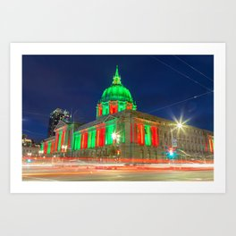 San Francisco City Hall Holiday Light Art Print