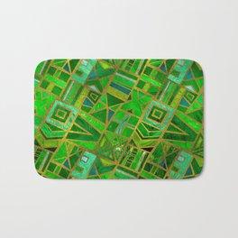 Geometric  Green and Gold African Tribal Pattern Bath Mat