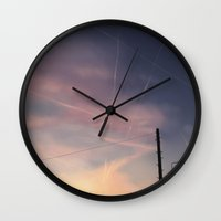 planes Wall Clocks featuring Planes Crossing by Mel Hampson