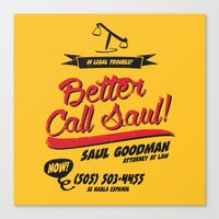 better call saul Canvas Prints featuring Better Call Saul by Krikoui