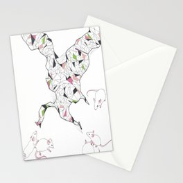 At Night the Lab Mice Bend Space and Time Stationery Cards