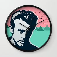 james franco Wall Clocks featuring  james  by mark ashkenazi