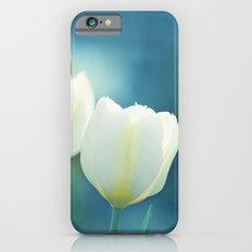 Aqua Blue Tulip Photography, Teal Turquoise White Flowers, Floral Nature iPhone 6s Slim Case