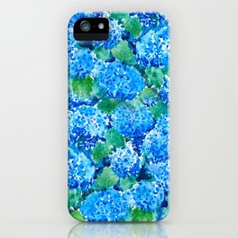 abstract blue hydrangea wall iPhone Case