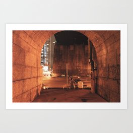 Skaters Taking a Breather Under the Manhattan Bridge Art Print