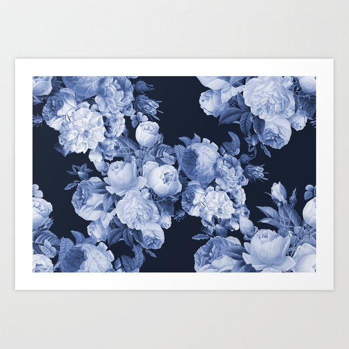 Denim and Roses Art Print