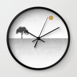 Tree Artwork Grey And Black Landscape Wall Clock