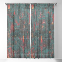 Night city glow cartoon Sheer Curtain