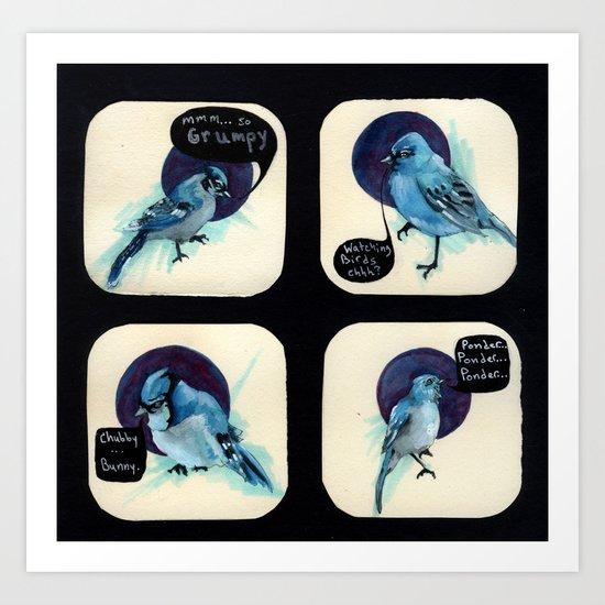 Four Strange Bluebirds Art Print