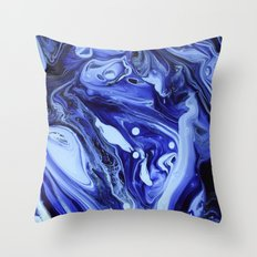 MIDNIGHT BLUE MARBLE Throw Pillow