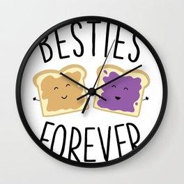 Cute Funny Peanut Butter Jelly Besties Forever Best Friends Wall Clock