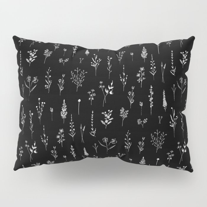 Black wildflowers Pillow Sham