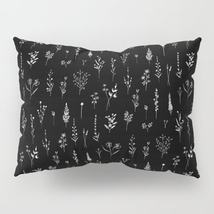 Black wildflowers Pillow Sham