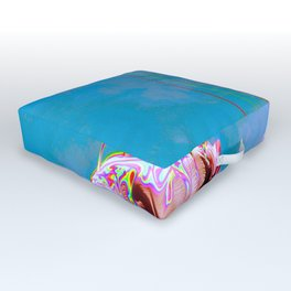 Colors of Freedom - Rainbow, Sky, Blue, Modern, Colorful, Vintage Outdoor Floor Cushion
