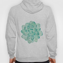 Watercolor Succulent print in seafoam green Hoody