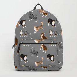 Australian Shepherd Pattern (Gray Background) Backpack