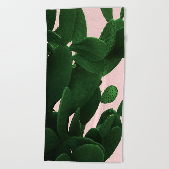 Cactus On Pink Beach Towel