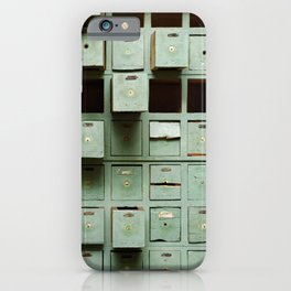 Old green wooden cabinet with drawers iPhone Case