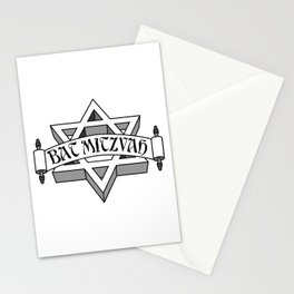 Bat Mitzvah with silver scroll &  Star of David  Stationery Cards