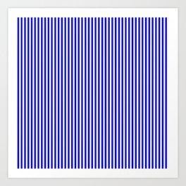 blue and white screen stripes Art Print