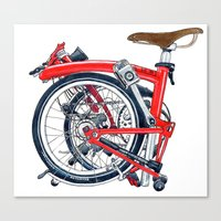 brompton Canvas Prints featuring Brompton Folded red painting by Diana Powell